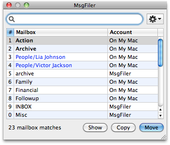 Favorite Mailboxes in MsgFiler