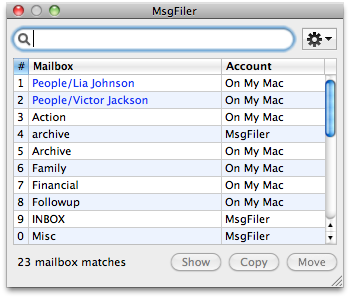 Recents Mailboxes in MsgFiler